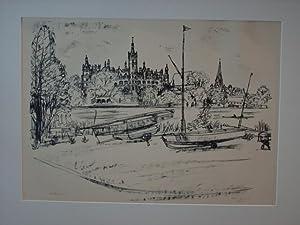 Schwerin`. Blick zum Schloß, rechts der Dom.: Deutscher Künstler: