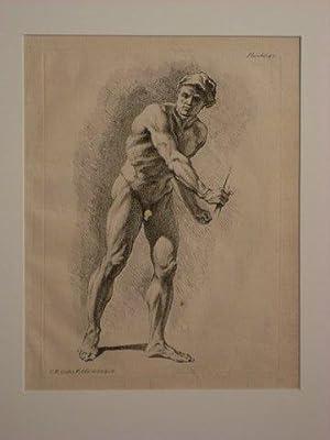 Männerakt von vorne, leicht nach rechts gebeugt. Aus einer Zeichenschule/ Folge männlicher Akte.: ...