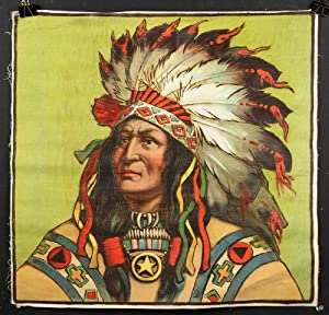 Fine American Indian Chief Chromolithograph on Cloth.: CHROMOLITHOGRAPH: NATIVE AMERICAN)
