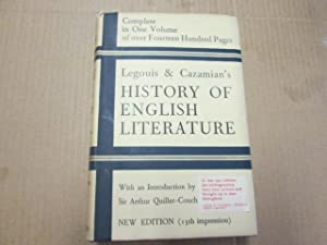 A History Of English Literature: Legouis, Emile and