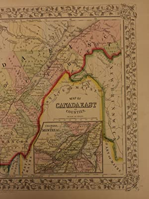 1866 Color Steel Engraved Map of East CANADA Quebec Montreal Vermont Maine: Samuel Augustus Mitchell