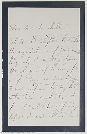 Autograph Letter Signed to Mr Marshall, in English, (Giacinta, 1807-1889, Italian Soprano)