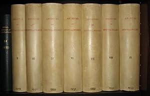 Volume 2 - Volume 9 (ohne Volume 5).: ARCHIVES OF OPHTHALMOLOGY. [Konvolut von 7 Bänden.]
