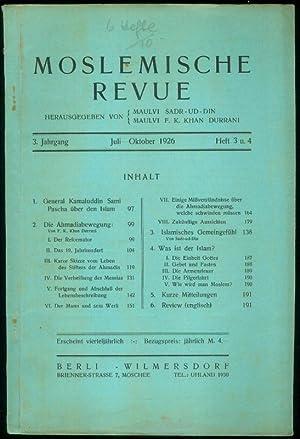 3.Jahrgang. Heft 3 und 4. Herausgegeben von Maulvi Sadr-Ud-Din und Maulvi F.K.Khan Durrani.: ...