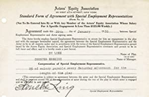 ACTORS' EQUITY DOCUMENT SIGNED by silent film and stage actress BLANCHE RING.: Ring, Blanche. (...