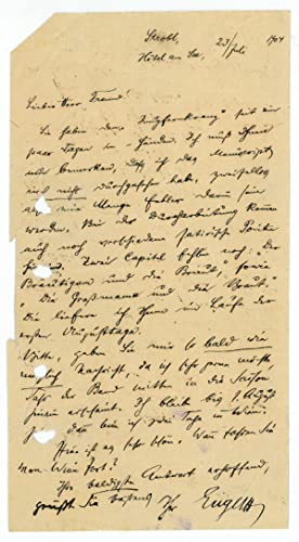 Eigenh. Brief mit U.: Engel, Alexander, Schriftsteller
