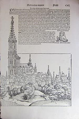 """Four full-page woodcut leaves from the """"Liber: HARTMAN SCHEDEL (1440-1514)"""