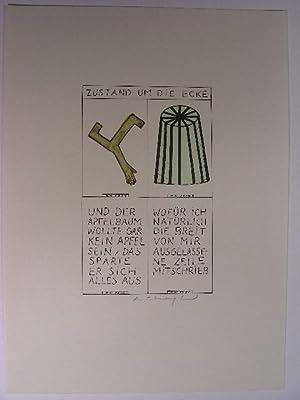 """Zustand um die Ecke(""""). Vier Felder mit Zeichnungen bzw. Texten, diese jew. mit eigener ..."""