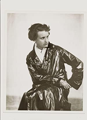 Modern Print Signed by Abbott on verso, 10 x 8, of Sylvia Beach in her long dark trench coat seated...