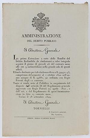 Immagine del venditore per AMMINISTRAZIONE DEL DEBITO PUBBLICO. Torino, 18 settembre 1822.: venduto da Bergoglio Libri d'Epoca