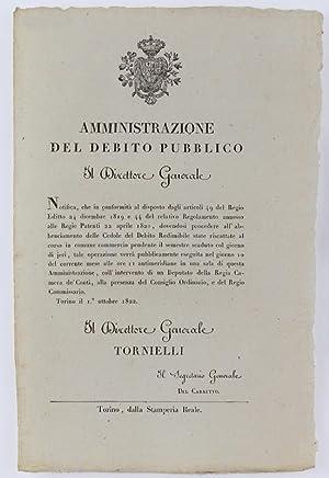 Immagine del venditore per AMMINISTRAZIONE DEL DEBITO PUBBLICO. Tiorino, 1 ottobre 1822.: venduto da Bergoglio Libri d'Epoca