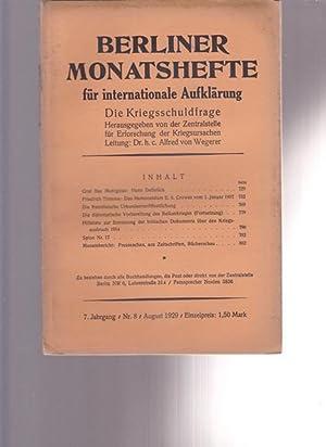 Berliner Monatshefte für internationale Aufklärung. Die Kriegsschuldfrage.: Hrsg. Zentralstelle für