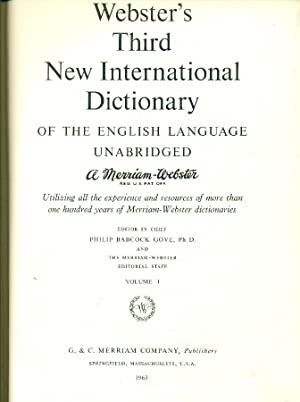 Seller image for Webster's Third New International Dictionary of the English language for sale by Studio Bibliografico Marini