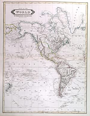 CHART OF THE WORLD ON MERCATOR S PROJECTION . Map of the world, printed on two double sheets, no...