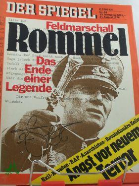 Bild des Verkäufers für 34/1978, Feldmarschall Rommel, Das Ende einer Legende zum Verkauf von Antiquariat Artemis Lorenz & Lorenz GbR