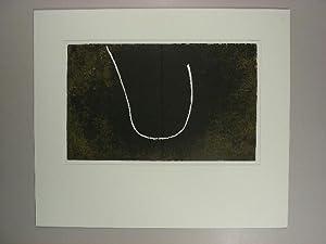 Abstrakte Komposition. Weiße Kurve auf schwarzem u. olivbraunem Grund.: Fiedler, Francois: