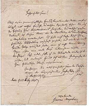 Handsome Autograph Letter Signed to Franz TESCA (Giacomo, 1791-1864, German Operatic Composer)