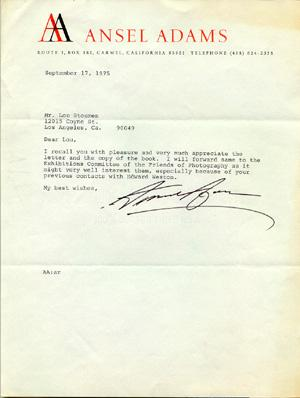 TYPED LETTER - Signed: Adams, Ansel