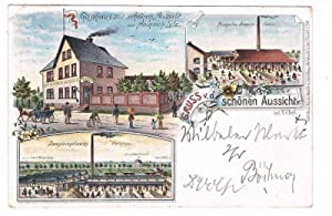 Vilbel: Gruss v.d.schönen Aussicht b.Vilbel, Ansichten d. Gasthaus von Heinrich Lotz, d. ...