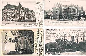"""Stettin, 4 Postkarten: Stettin, Generallandschaft / Manzelbrunnen / Schwimmdocks d. """"Vulcan&#34..."""