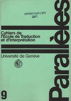 Parallèles / cahier n° 9 / école: Université De Genève