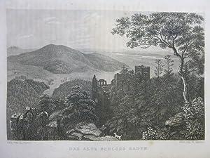 Das alte Schloss Baden Orig Stahlstich Württemberg gez. v. L. Mayer gest. v. W. Kelsall