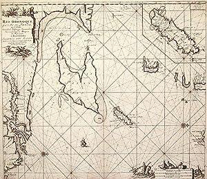 Pas kaart Van Rio Oronoque Golfo de Paria met d'Eylanden Trinidad, Tabago, Granada, Granadillos...
