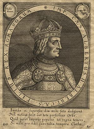 Wien 16. 08. 1397 - 27. 10. 1439 Neszmély). Brustbild im Oval,.: ALBRECHT II. (1397-1439) König des...