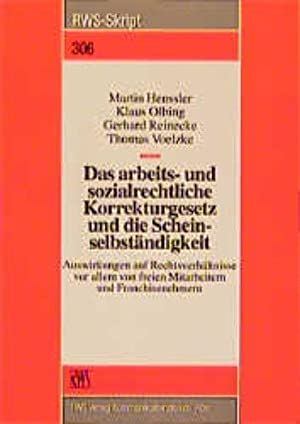 Bild des Verkäufers für Das arbeitsrechtliche und sozialrechtliche Korrekturgesetz und die Scheinselbständigkeit zum Verkauf von getbooks GmbH