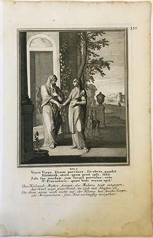 Lukas 1 - Maria besucht Elisabeth. Kupferstich