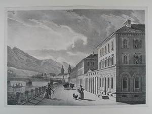 Städtisches Schlachthaus von der Innseite. Lithographie v.: Innsbruck
