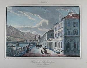 Städtisches Schlachthaus von der Innseite. Altkolorierte Lithographie: Innsbruck