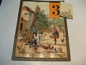 Motiv: Kinder beim Spieln mit Geflügel.: Legespiel