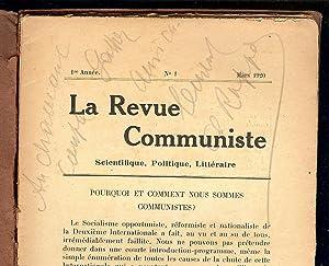 LA REVUE COMMUNISTE Scientifique , Politique ,: RAPPOPORT Ch. Directeur