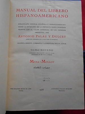 Manual del Librero Hispano-Americano. Tomo IX. Mena: Palau y Dulcet,