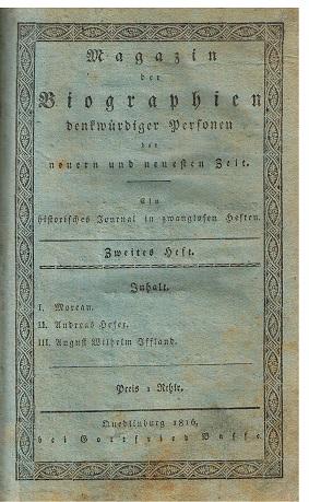 Magazin der Biographien der neueren und neuesten Zeit. zweites Heft.