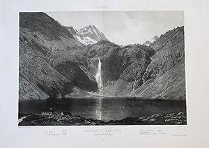 Bagnères-de-Luchon Lac d'Oo Lithographie lithograph