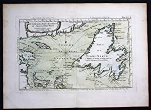 Newfoundland Gulf of Saint Lawrence Canada Bellin handcolored antique map