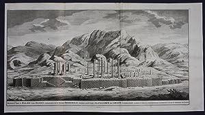 Persepolis Iran map engraving panorama view Valentijn Persia antique ruins