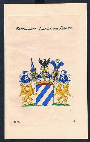 Freiherren Barre von Barey Wappen Kupferstich Genealogie Heraldik crest