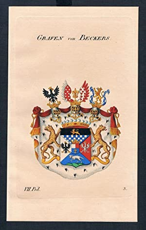 Grafen von Beckers Wappen Kupferstich Genealogie Heraldik coat of arms