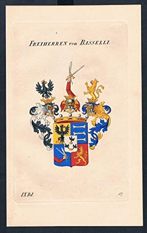 Freiherren von Basselli Wappen Kupferstich Genealogie Heraldik coat of arms