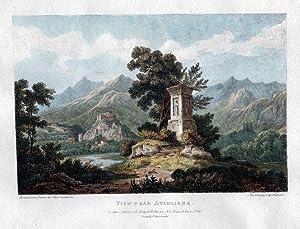 Avigliana Piemonte Torino Lithographie Cockburn litografia veduta