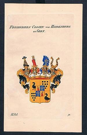 Freiherren Closen v. Haydenburg Gern Wappen Kupferstich Genealogie Heraldik