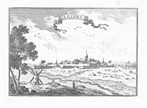 Lillers view gravure estampe Original Beaulieu vue Kupferstich engraving