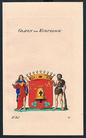 Grafen von Kurtzrock Wappen Kupferstich Genealogie Heraldik coat of arms