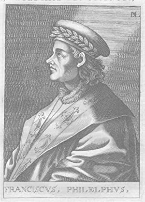 Francesco Filelfo Humanist Portrait engraving stampa acquaforte incisione