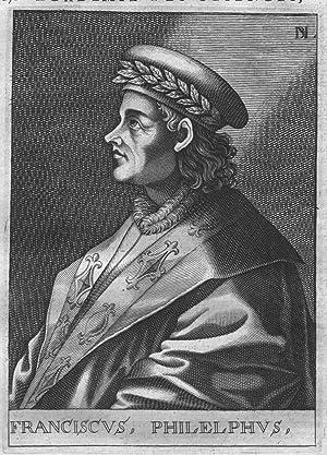 Francesco Filelfo Humanist Portrait engraving stampa acquaforte incisione