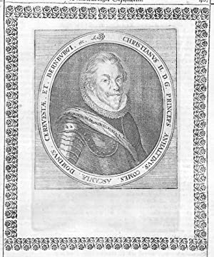 Christian II Anhalt-Bernburg Fürst Portrait Merian