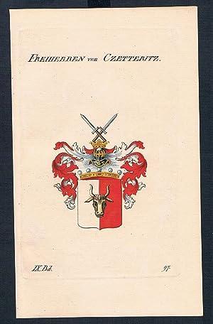 Freiherren von Czetteritz Wappen Kupferstich Genealogie Heraldik crest